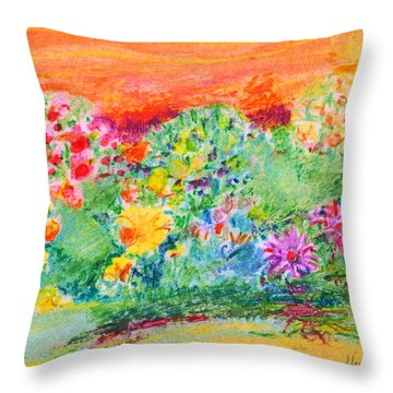 Throw Pillow featuring the painting Mother's Garden by Mary Armstrong