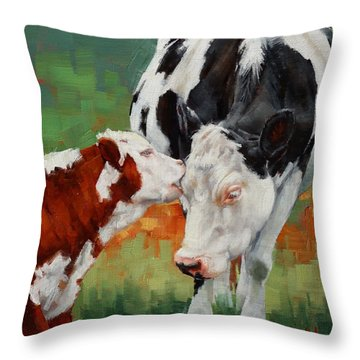 Throw Pillow featuring the painting Mothers Little Helper by Margaret Stockdale
