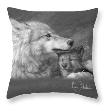 Mother's Love - Black And White Throw Pillow