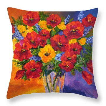 Mothers Spring Flowers Throw Pillow by Mary Jo Zorad