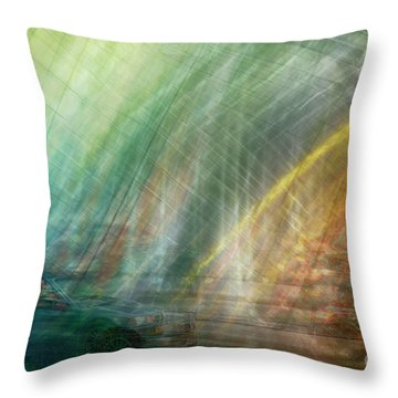 Throw Pillow featuring the photograph motion in Dublin street by Ariadna De Raadt
