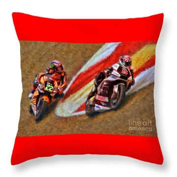 Moto2 Johann Zarco Leads Sam Lowes Throw Pillow