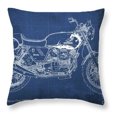 Moto Guzzi V7 Racer First Edition Blueprint Blue Background Throw Pillow