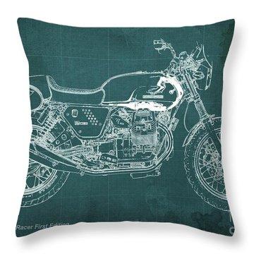 Moto Guzzi V7 Racer First Edition Blueprint Green Background Throw Pillow