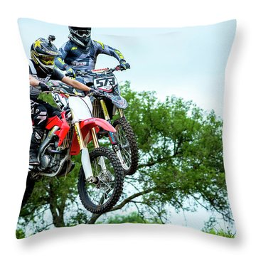 Throw Pillow featuring the photograph Motocross Battle by David Morefield