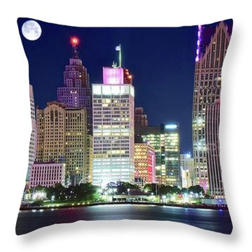 Throw Pillow featuring the photograph Motor City Night With Full Moon by Frozen in Time Fine Art Photography