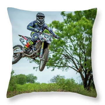 Throw Pillow featuring the photograph Motocross Aerial by David Morefield
