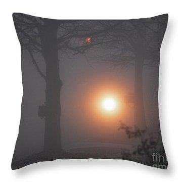 Motorcycle In The Fog In Loganville Georgia Throw Pillow