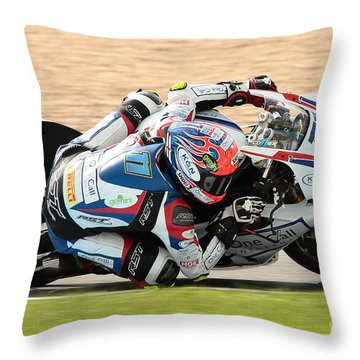 Motorcycle Racing Throw Pillow by Peter Hatter