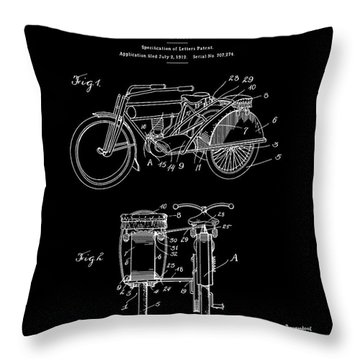 Motorcycle Sidecar Patent 1912 - Black Throw Pillow by Finlay McNevin