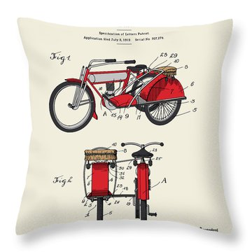 Motorcycle Sidecar Patent 1912 Throw Pillow by Finlay McNevin