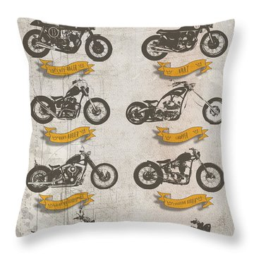 Motorcycle Style Guide Throw Pillow