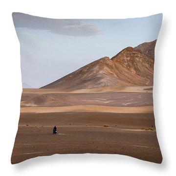 Motorcycles In Persian Desert Throw Pillow