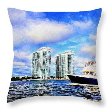 Motoring Past The Marina Grande Throw Pillow