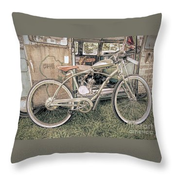 Motorized Bike Throw Pillow by Marion Johnson