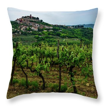 Motovun And Vineyards - Istrian Hill Town, Croatia Throw Pillow