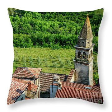 Motovun Istrian Hill Town - A View From The Ramparts, Istria, Croatia Throw Pillow