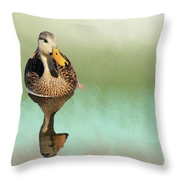Mottled Duck Reflection Throw Pillow