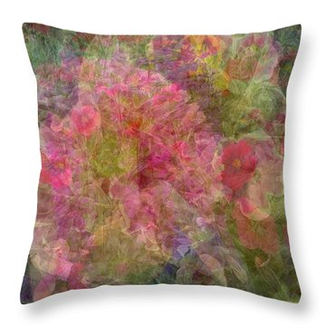 Mottled Pink Collage Pop Throw Pillow