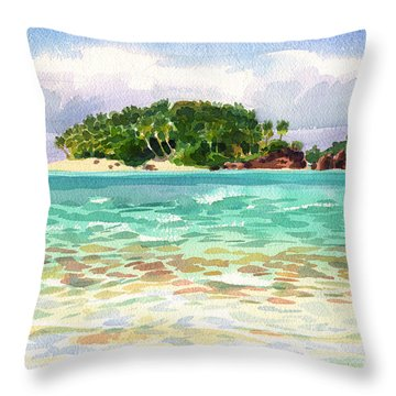 Throw Pillow featuring the painting Motu Rakau, Aitutaki by Judith Kunzle