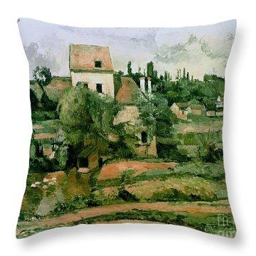 Moulin De La Couleuvre At Pontoise Throw Pillow by Paul Cezanne