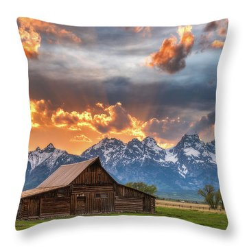 Moulton Barn Sunset Fire Throw Pillow