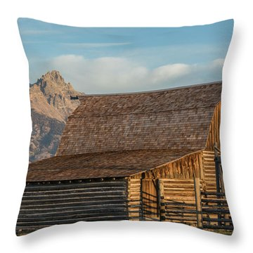 Throw Pillow featuring the photograph Moulton Homestead - Barn At Morning Light by Colleen Coccia