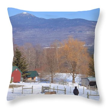 Mount Abraham And Winter Farm Green Mountains Throw Pillow by John Burk