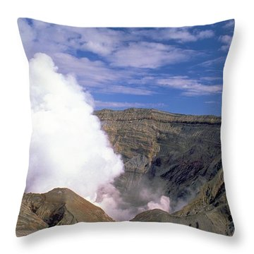 Mount Aso Throw Pillow by Travel Pics