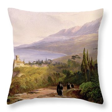 Mount Athos And The Monastery Of Stavroniketes Throw Pillow by Edward Lear