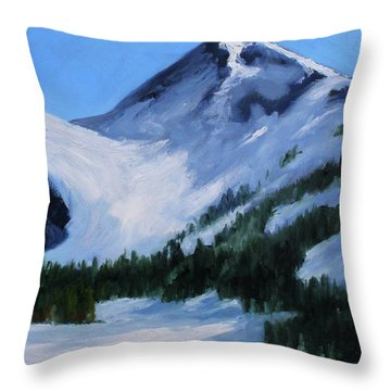 Throw Pillow featuring the painting Mount Baker Glacier by Nancy Merkle