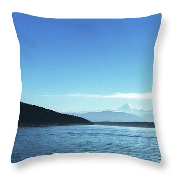 Throw Pillow featuring the photograph Mount Baker Looms by Lorraine Devon Wilke