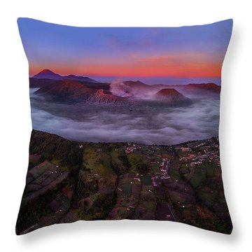 Throw Pillow featuring the photograph Mount Bromo Misty Sunrise by Pradeep Raja Prints