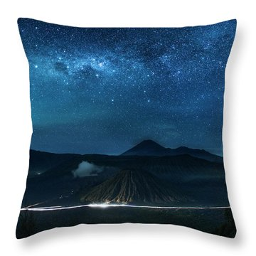 Throw Pillow featuring the photograph Mount Bromo Resting Under Million Stars by Pradeep Raja Prints