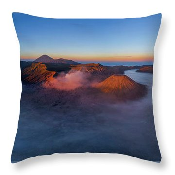 Throw Pillow featuring the photograph Mount Bromo Scenic View by Pradeep Raja Prints