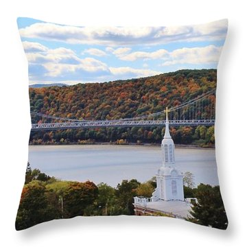 Mount Carmel And The Mid Hudson Bridge Throw Pillow