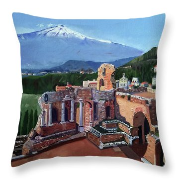 Mount Etna And Greek Theater In Taormina Sicily Throw Pillow