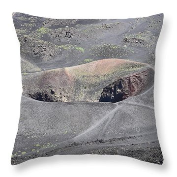 Mount Etna Caldera Throw Pillow
