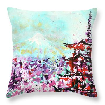 Throw Pillow featuring the painting Mount Fuji And The Chureito Pagoda In Spring by Zaira Dzhaubaeva