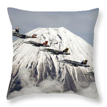 Mount Fuji Flight Throw Pillow