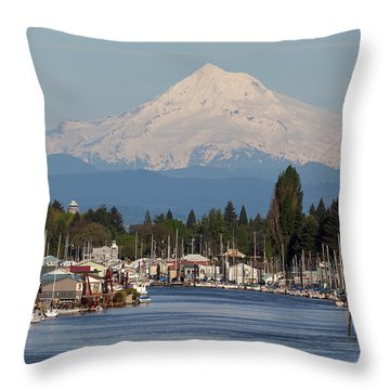 Mount Hood And Columbia River House Boats Throw Pillow by David Gn