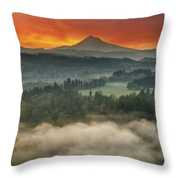 Mount Hood And Sandy River Valley Sunrise Throw Pillow by David Gn