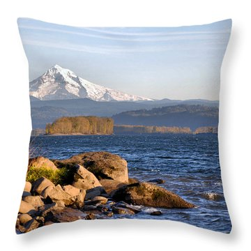 Throw Pillow featuring the photograph Mount Hood And The Columbia River by Jim Walls PhotoArtist