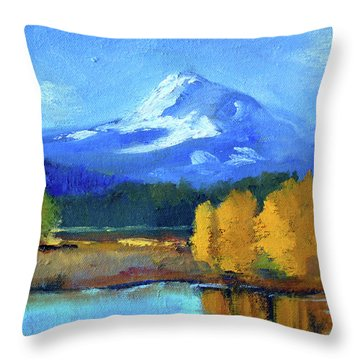 Throw Pillow featuring the painting Mount Hood by Nancy Merkle