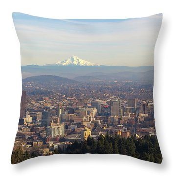 Mount Hood Over City Of Portland Oregon Throw Pillow by David Gn