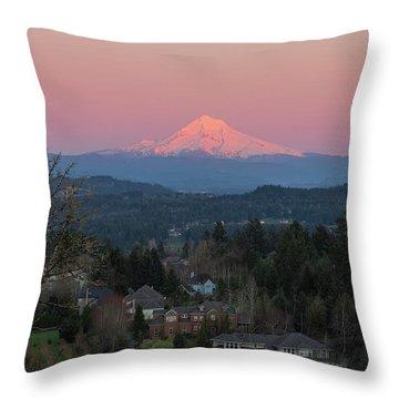 Mount Hood Over Happy Valley Oregon Throw Pillow