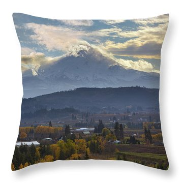 Mount Hood Over Hood River Valley In Fall Throw Pillow