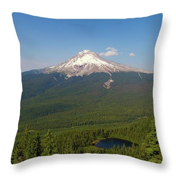 Mount Hood Over Mirror Lake Throw Pillow by David Gn