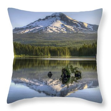 Mount Hood Reflection On Trillium Lake Throw Pillow by David Gn