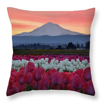 Mount Hood Sunrise With Tulips Throw Pillow